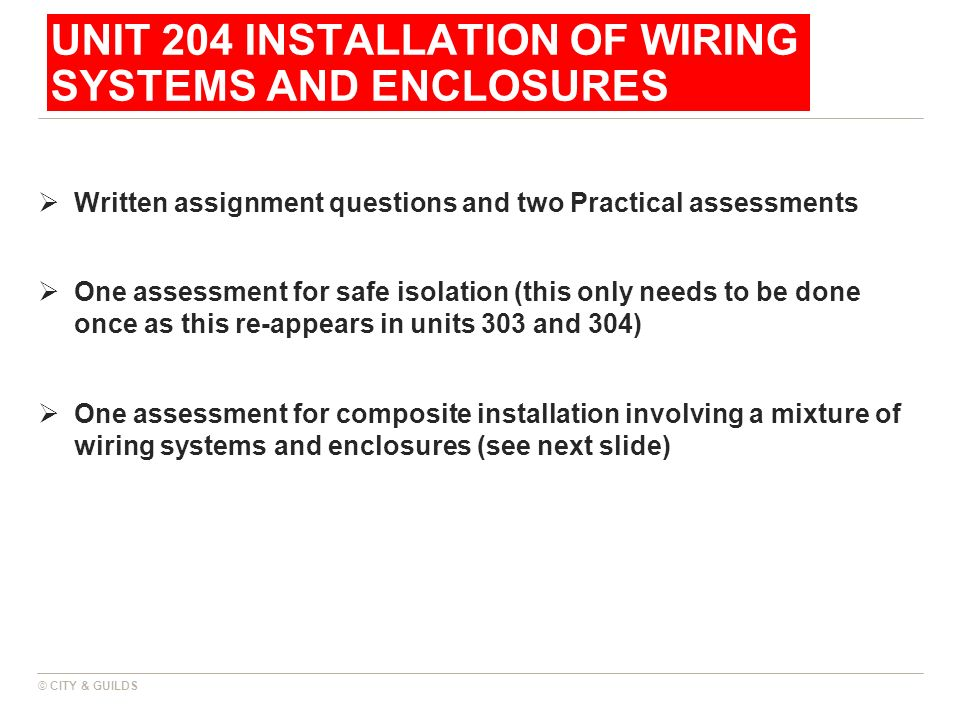 UNIT 204 INSTALLATION OF WIRING SYSTEMS AND ENCLOSURES