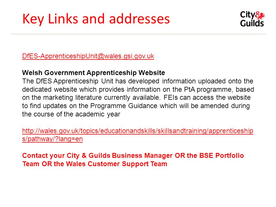 Key Links and addresses