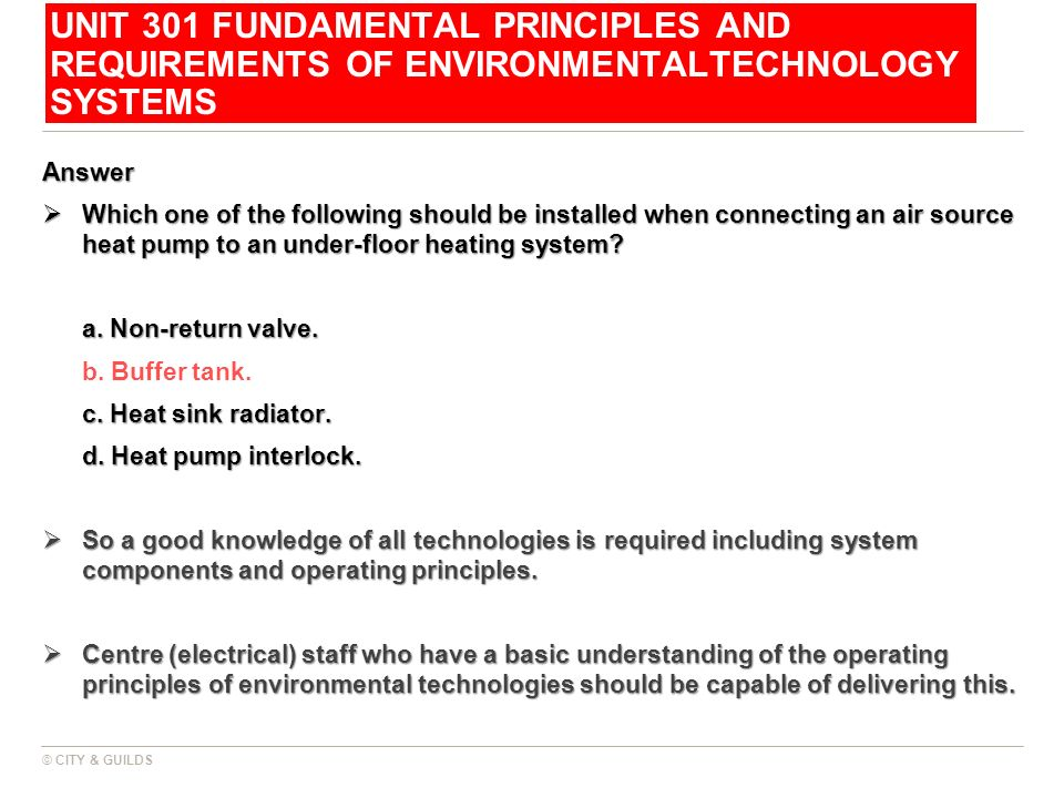 UNIT 301 FUNDAMENTAL PRINCIPLES AND REQUIREMENTS OF ENVIRONMENTALTECHNOLOGY SYSTEMS
