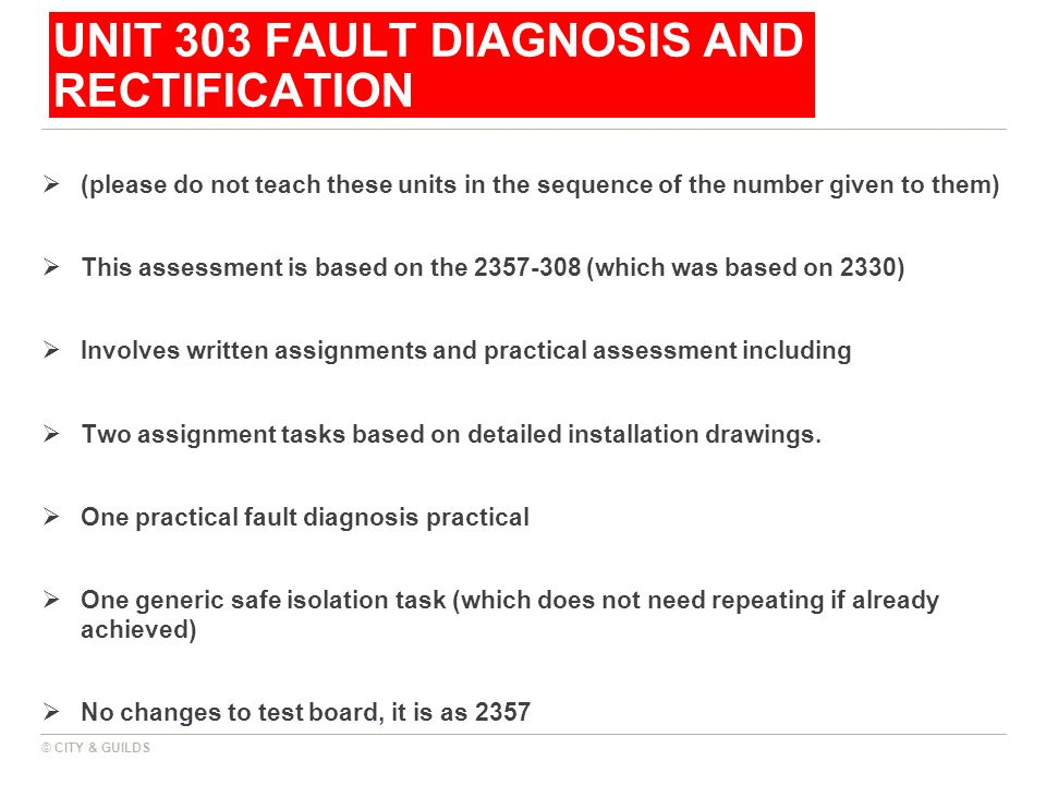 UNIT 303 FAULT DIAGNOSIS AND RECTIFICATION