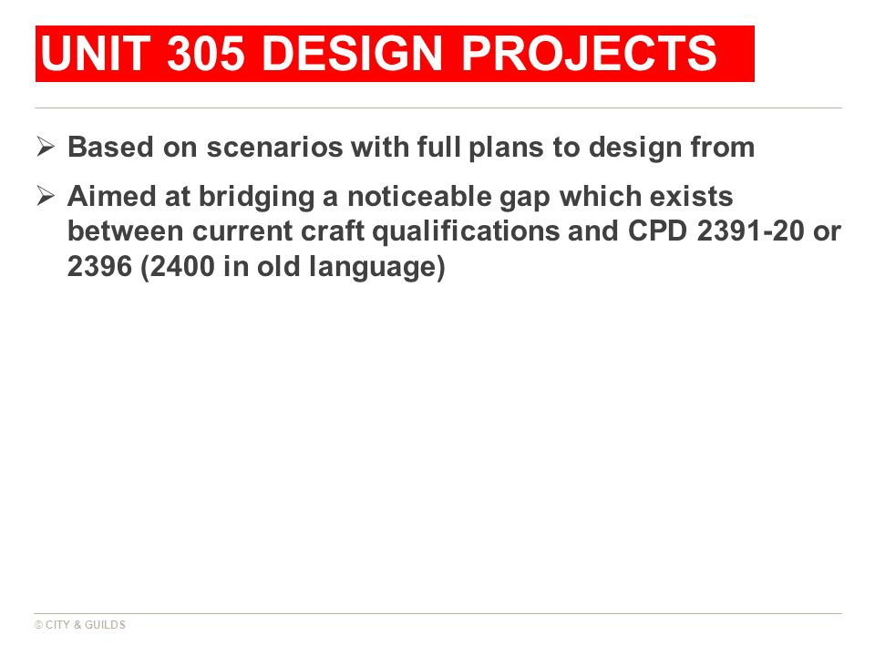 UNIT 305 design projects Based on scenarios with full plans to design from.