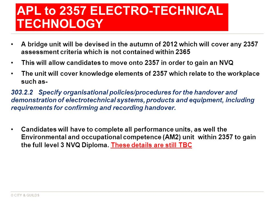 APL to 2357 ELECTRO-TECHNICAL TECHNOLOGY