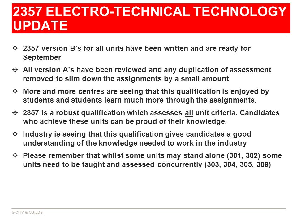 2357 ELECTRO-TECHNICAL TECHNOLOGY UPDATE