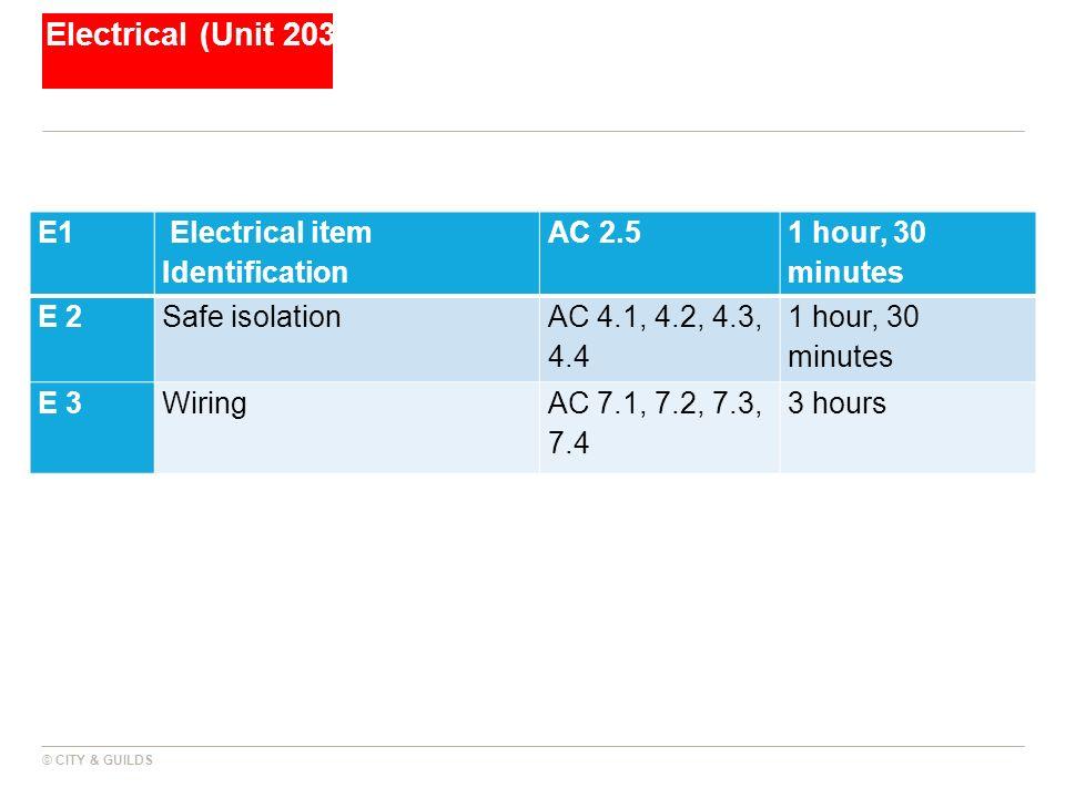 Electrical (Unit 203 E1 Electrical item Identification AC 2.5