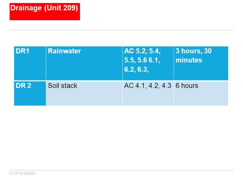Drainage (Unit 209) DR1 Rainwater AC 5.2, 5.4, 5.5, 5.6 6.1, 6.2, 6.3,