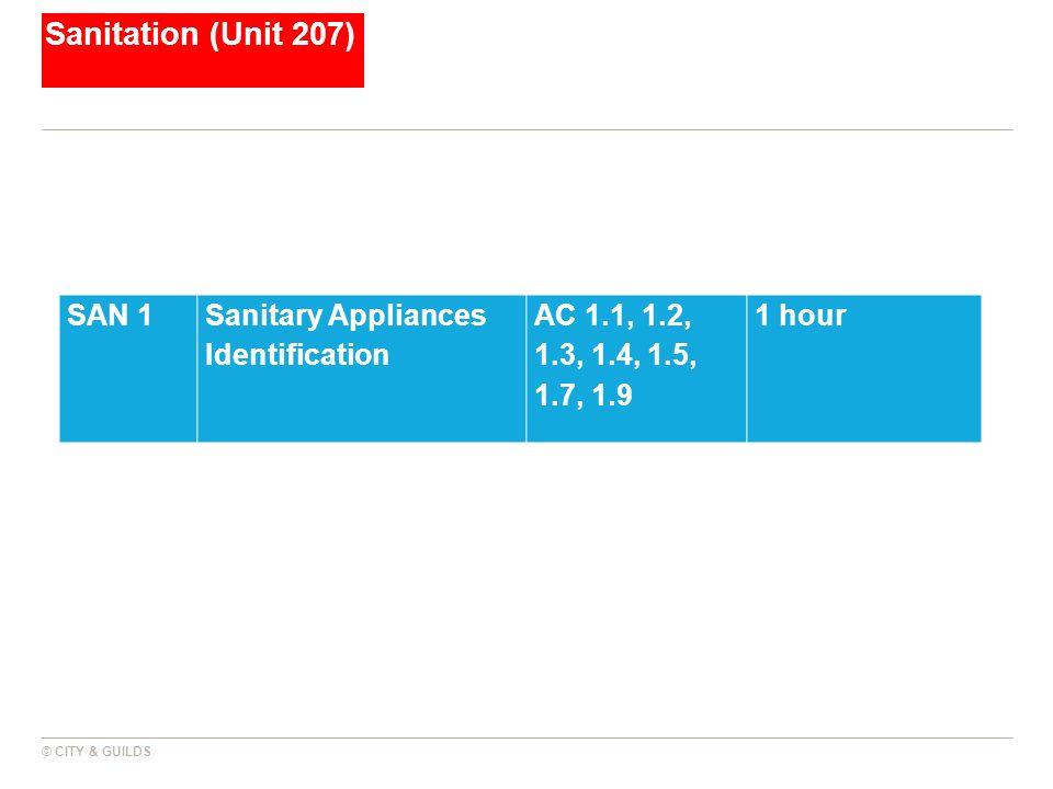 Sanitation (Unit 207) SAN 1 Sanitary Appliances Identification