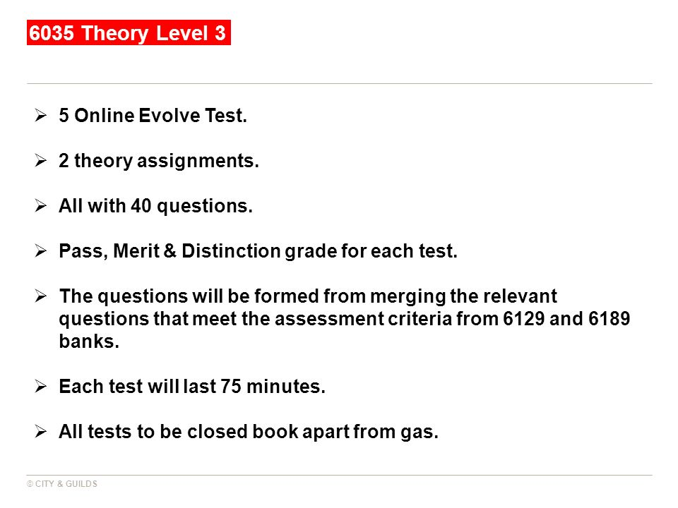 6035 Theory Level 3 5 Online Evolve Test. 2 theory assignments.
