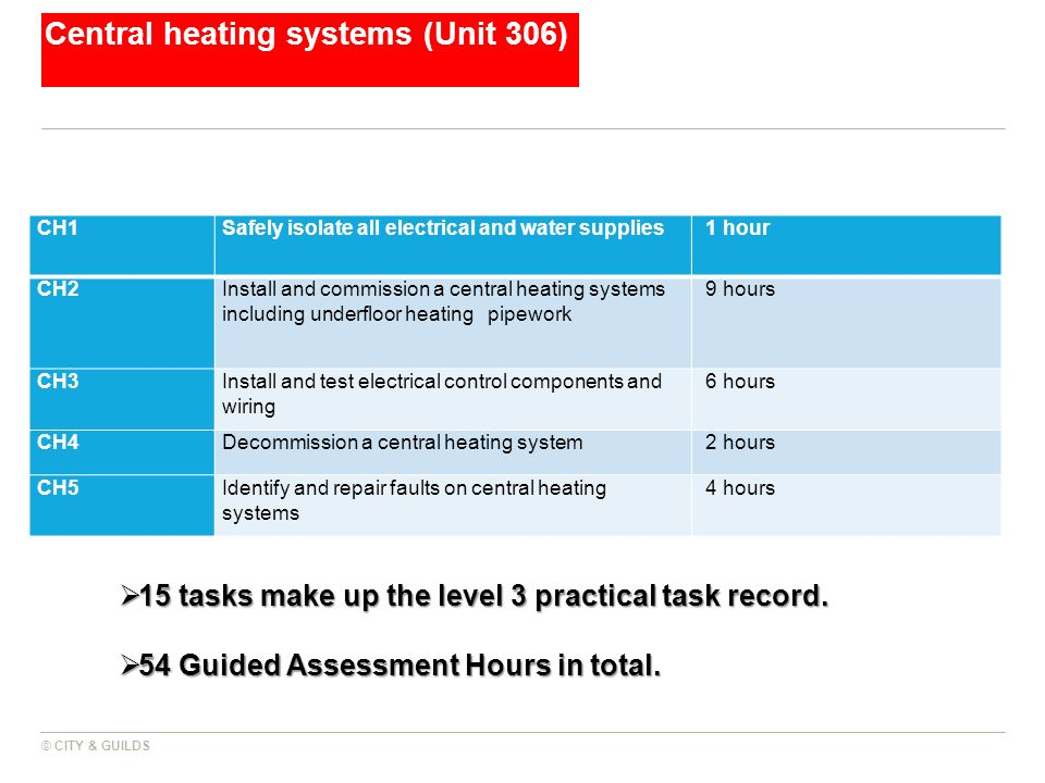 Central heating systems (Unit 306)