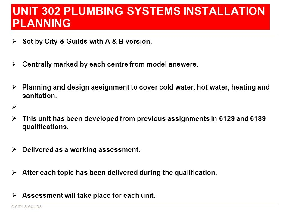 UNIT 302 plumbing systems installation planning