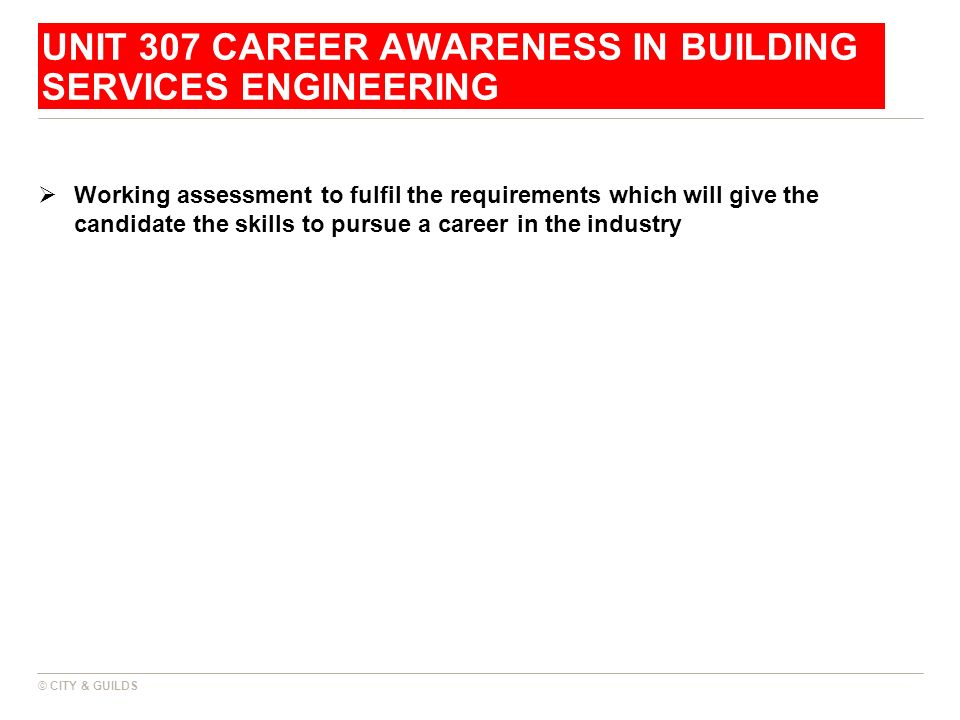 Unit 307 career awareness in building services engineering