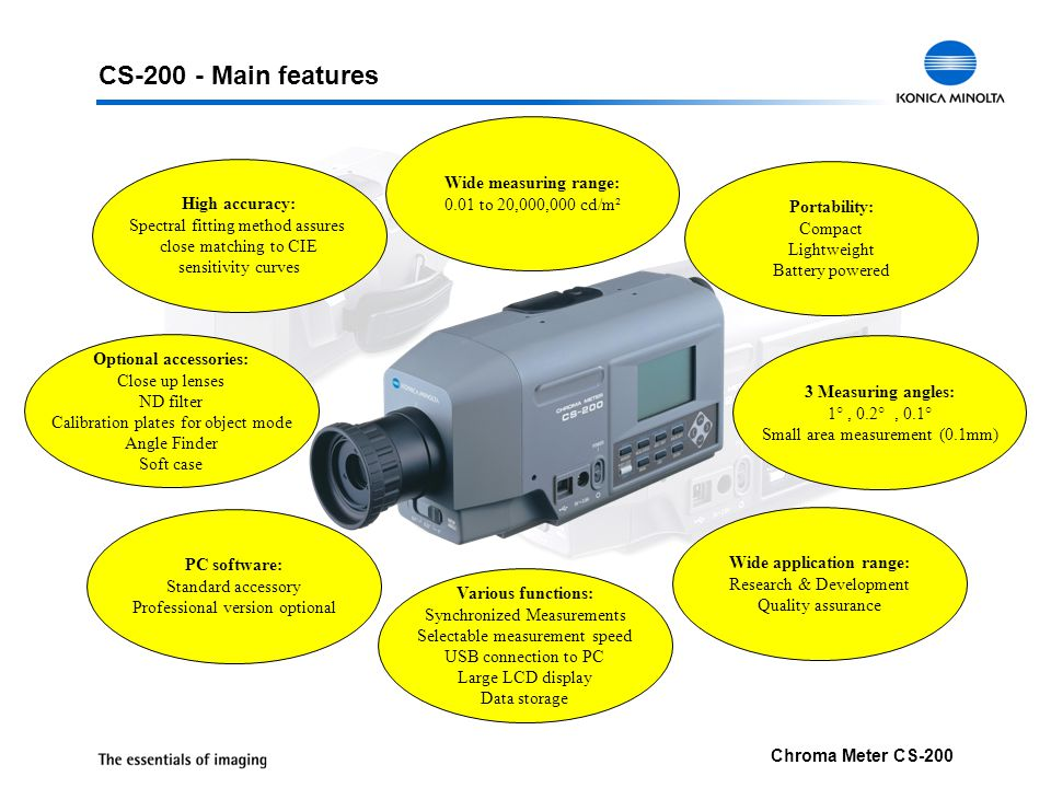 CS-200 - Main features Wide measuring range: 0.01 to 20,000,000 cd/m²