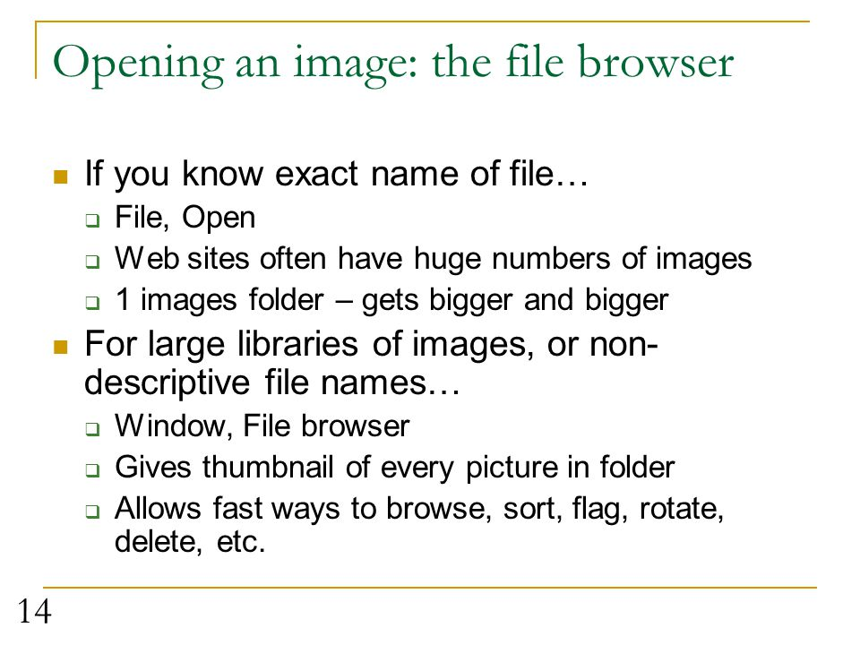 Opening an image: the file browser