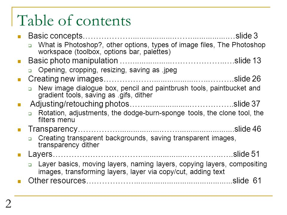 Table of contents Basic concepts………………....................…….................…slide 3.