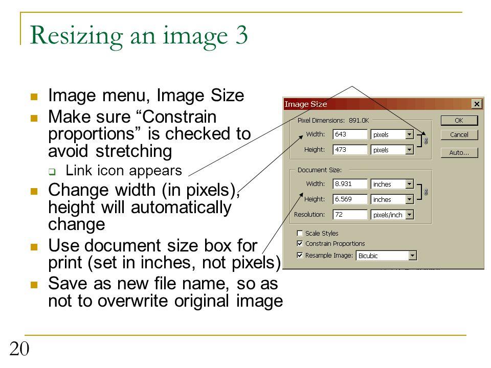 Resizing an image 3 Image menu, Image Size
