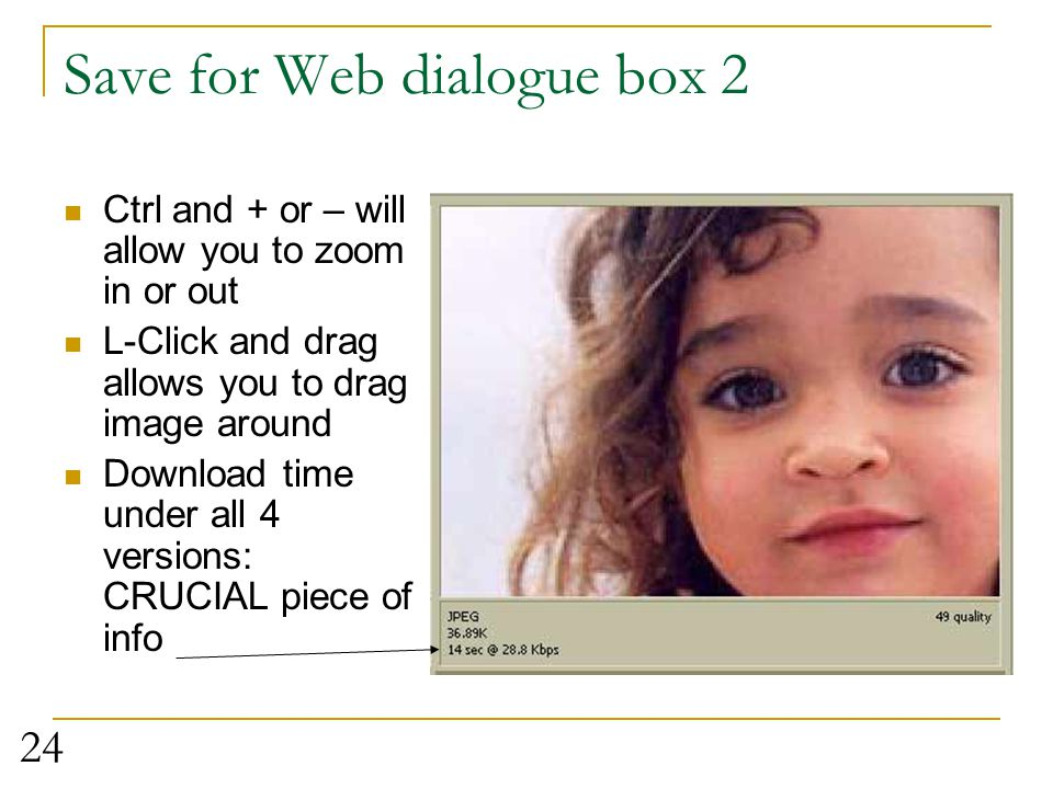 Save for Web dialogue box 2
