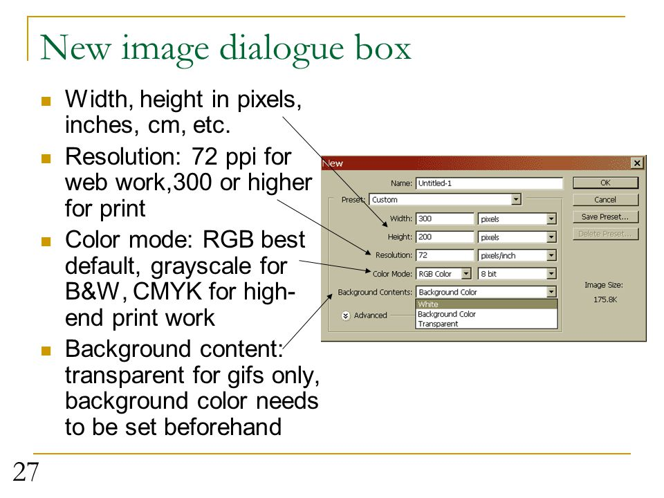 New image dialogue box Width, height in pixels, inches, cm, etc.