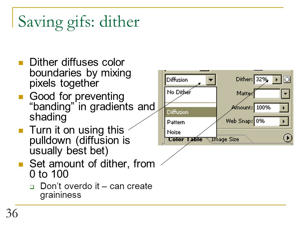 Saving gifs: dither Dither diffuses color boundaries by mixing pixels together. Good for preventing banding in gradients and shading.