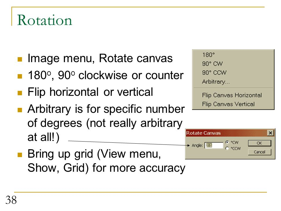 Rotation Image menu, Rotate canvas 180o, 90o clockwise or counter