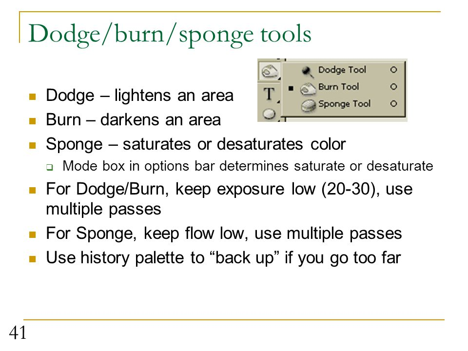 Dodge/burn/sponge tools
