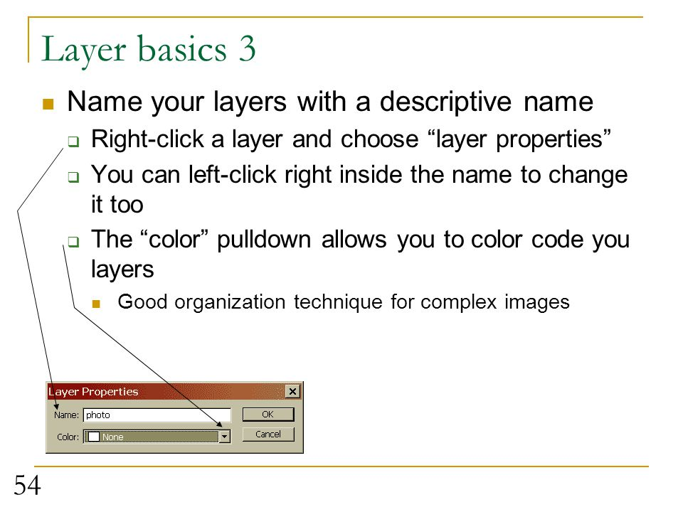 Layer basics 3 Name your layers with a descriptive name