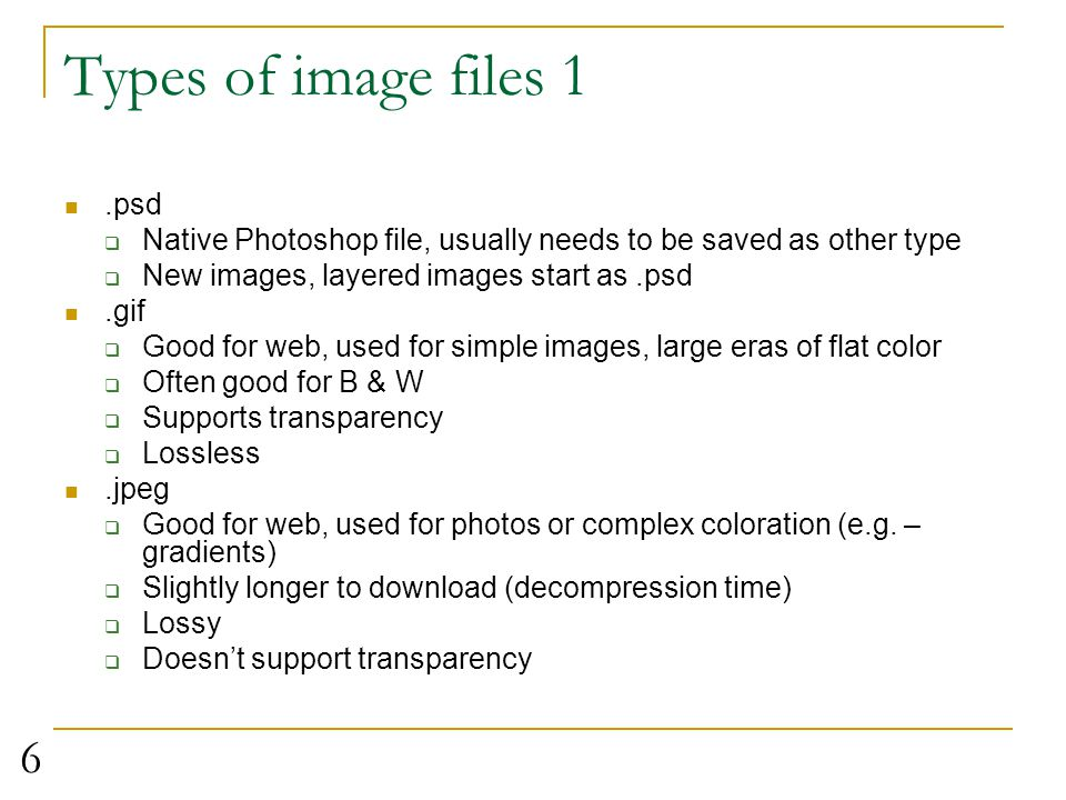 Types of image files 1 .psd