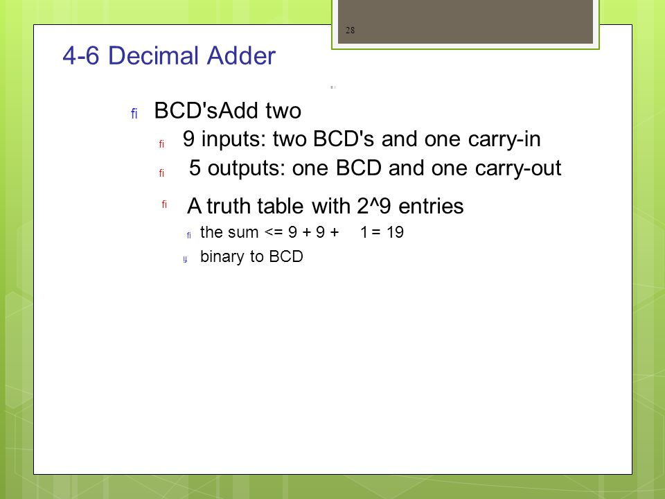 4-6 Decimal Adder Add two BCD s 9 inputs: two BCD s and one carry-in