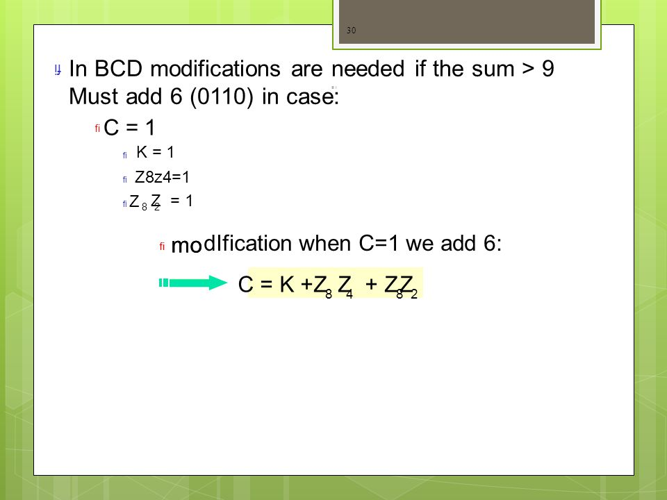 In BCD modifications are needed if the sum > 9