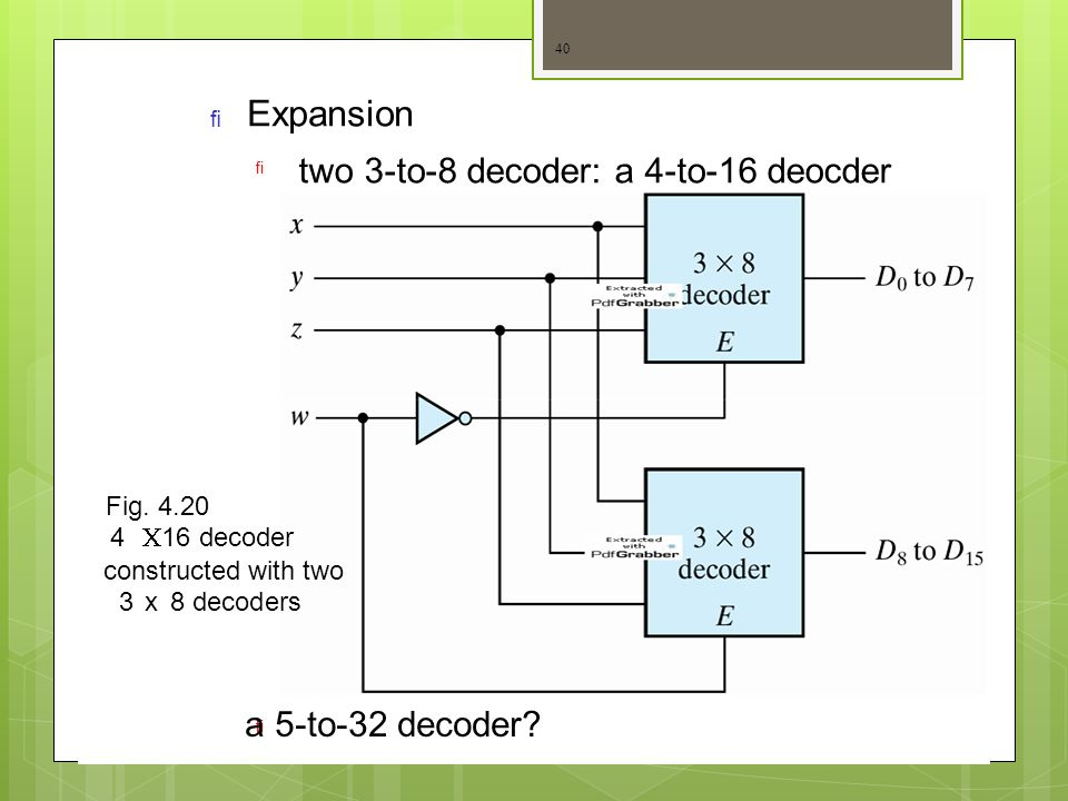Expansion two 3-to-8 decoder: a 4-to-16 deocder a 5-to-32 decoder
