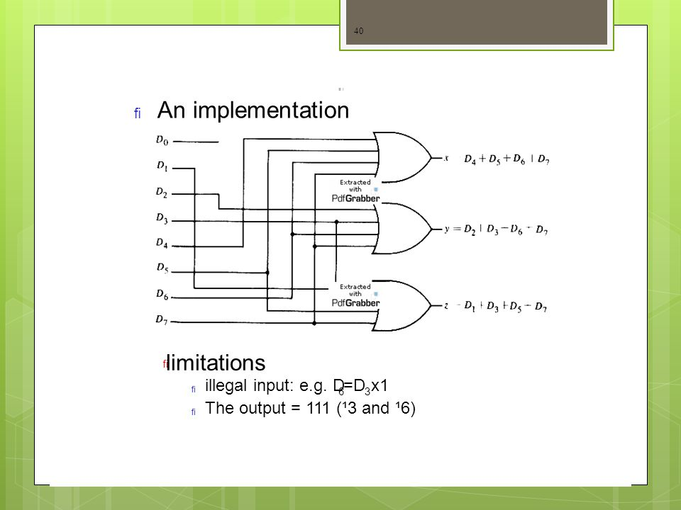 An implementation limitations illegal input: e.g. D =D x1