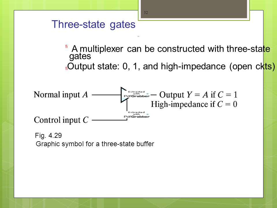 Three-state gates A multiplexer can be constructed with three-state
