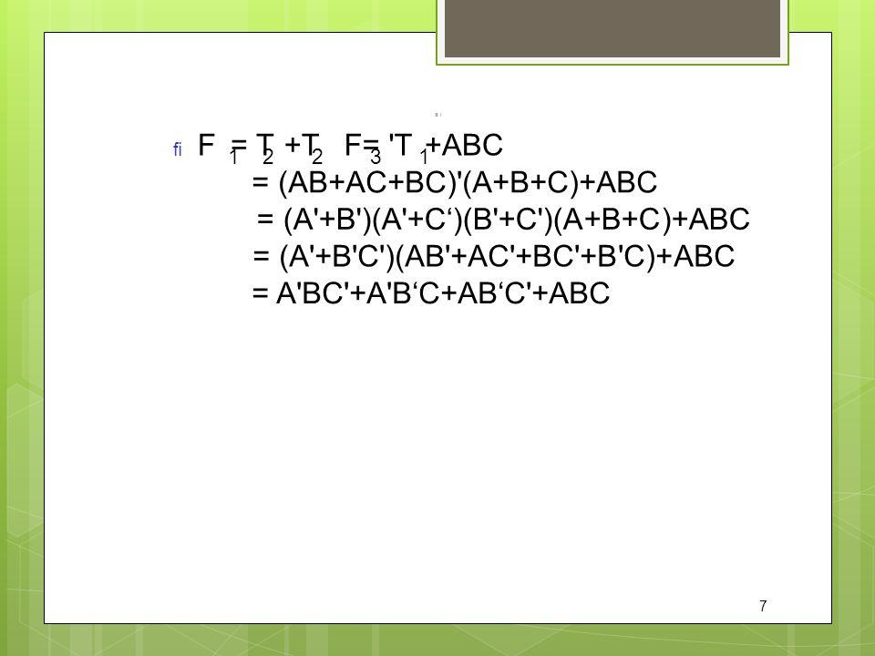 = (AB+AC+BC) (A+B+C)+ABC = (A +B )(A +C')(B +C )(A+B+C)+ABC