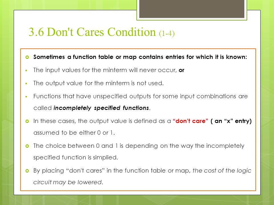 3.6 Don t Cares Condition (1-4)