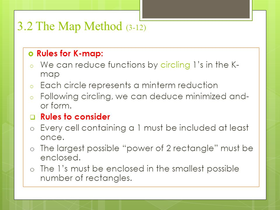3.2 The Map Method (3-12) Rules for K-map: