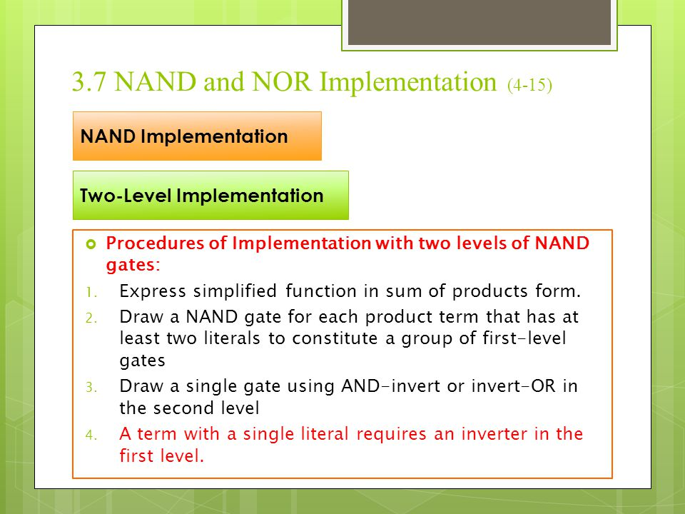3.7 NAND and NOR Implementation (4-15)