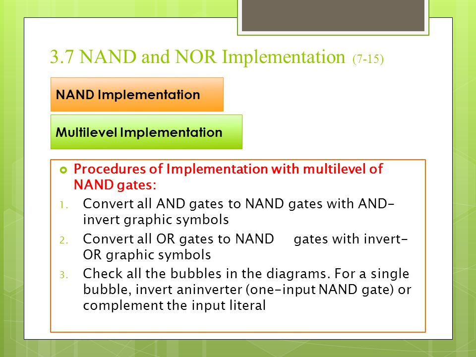 3.7 NAND and NOR Implementation (7-15)