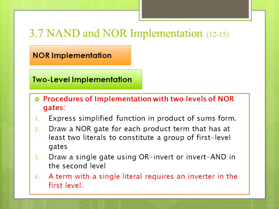 3.7 NAND and NOR Implementation (12-15)
