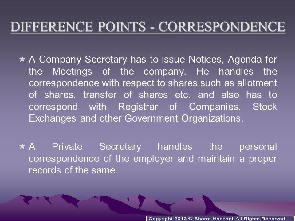 DIFFERENCE POINTS - CORRESPONDENCE
