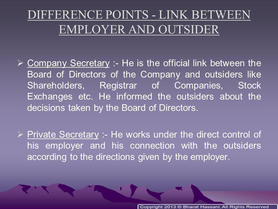 DIFFERENCE POINTS - LINK BETWEEN EMPLOYER AND OUTSIDER