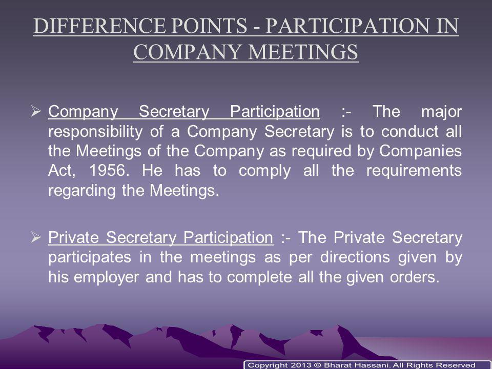 DIFFERENCE POINTS - PARTICIPATION IN COMPANY MEETINGS