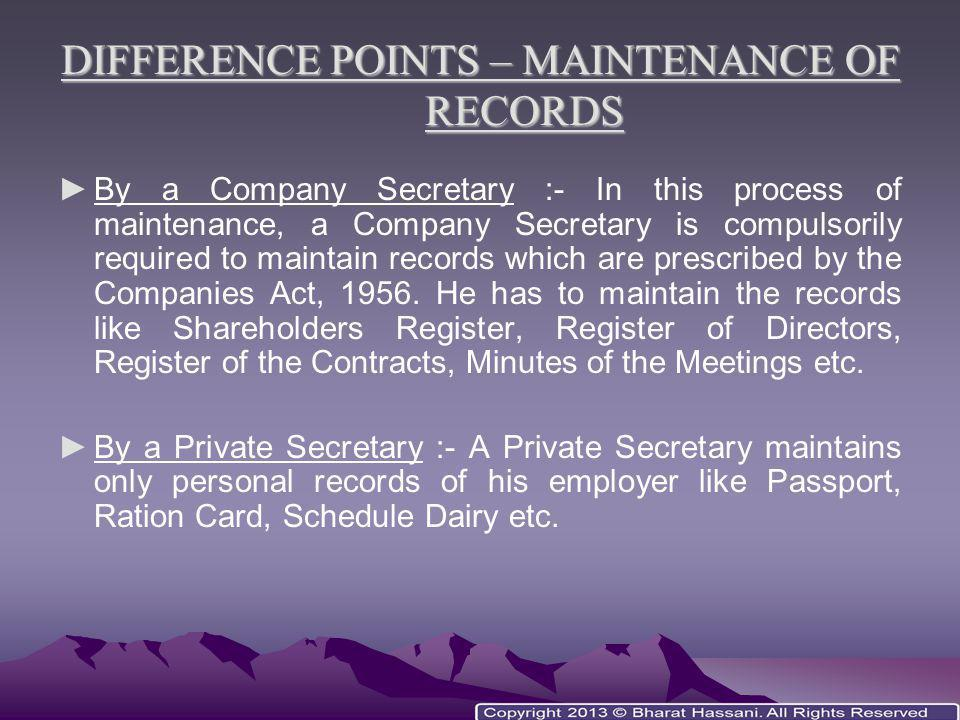 DIFFERENCE POINTS – MAINTENANCE OF RECORDS