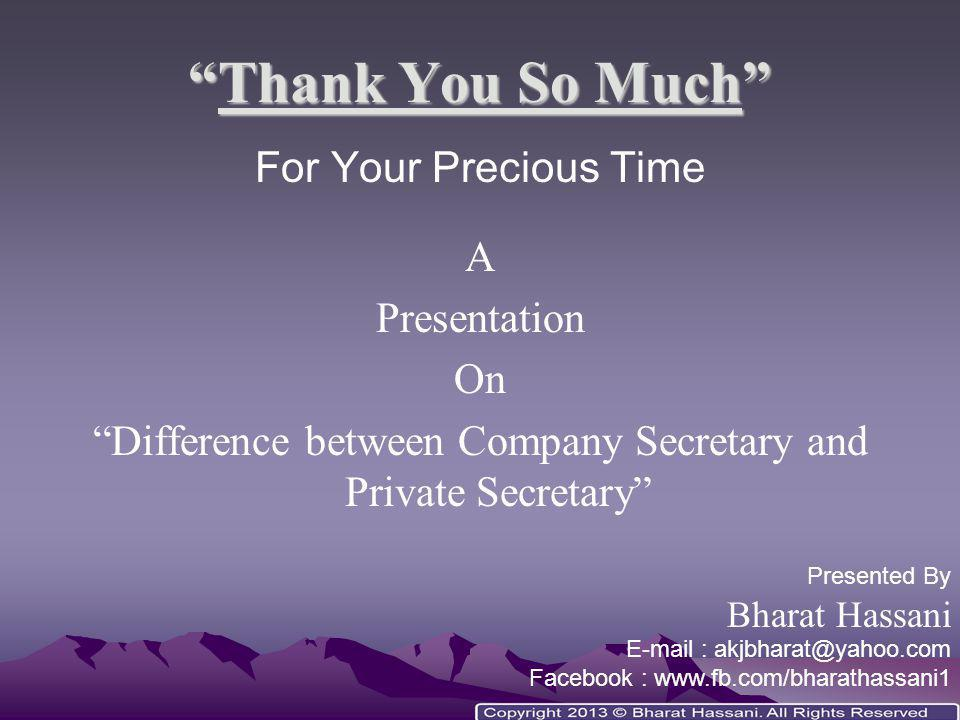 Difference between Company Secretary and Private Secretary