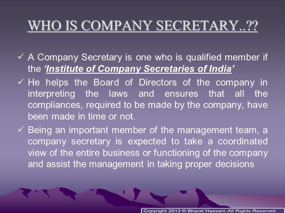 WHO IS COMPANY SECRETARY..