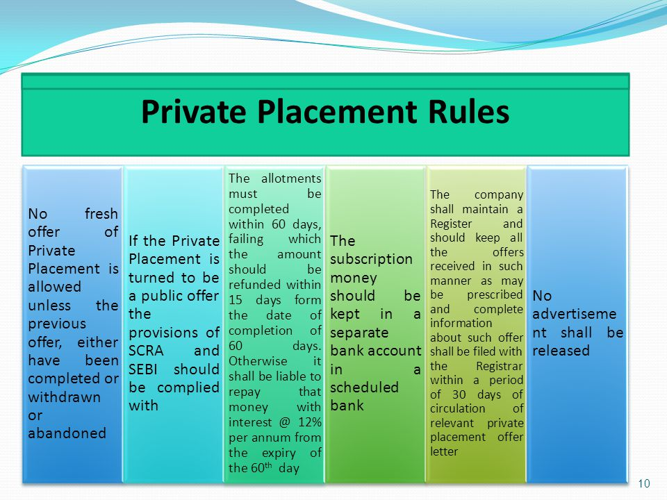 Private Placement Rules