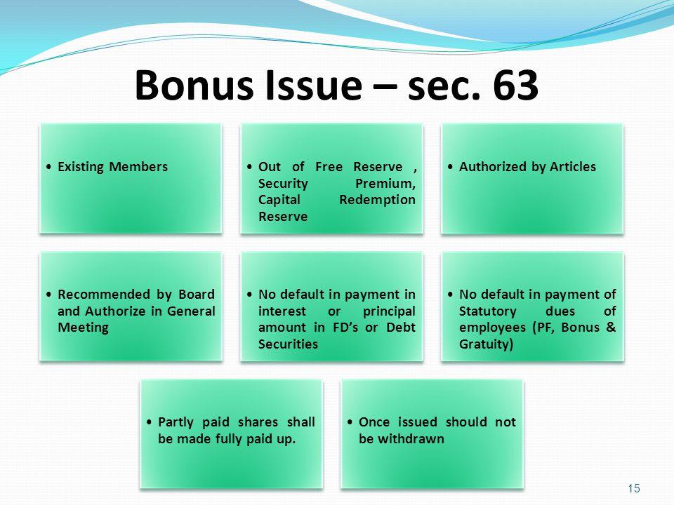 Bonus Issue – sec. 63 Existing Members