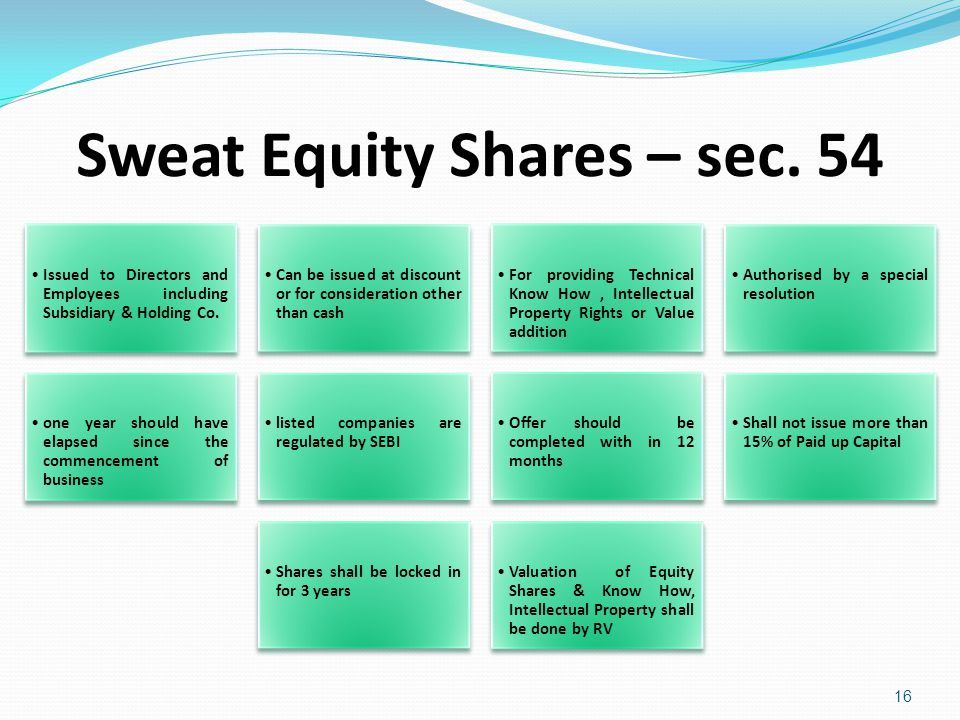 Sweat Equity Shares – sec. 54