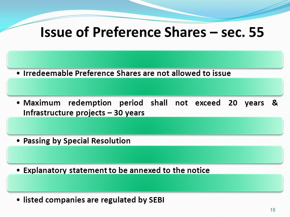 Issue of Preference Shares – sec. 55