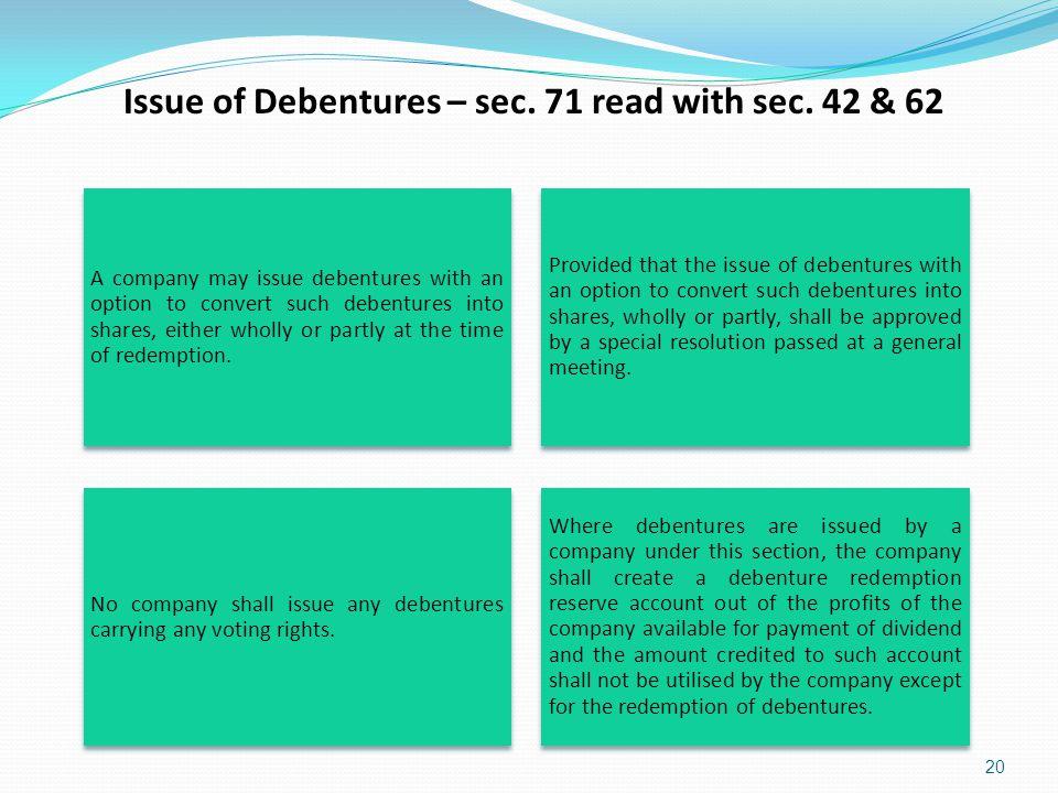 Issue of Debentures – sec. 71 read with sec. 42 & 62
