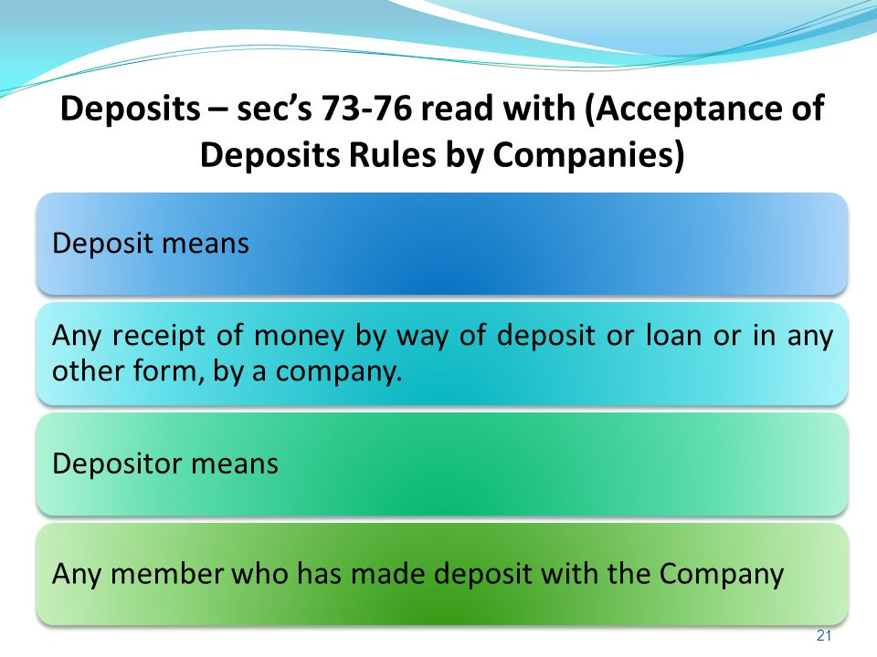 Deposits – sec's 73-76 read with (Acceptance of Deposits Rules by Companies)
