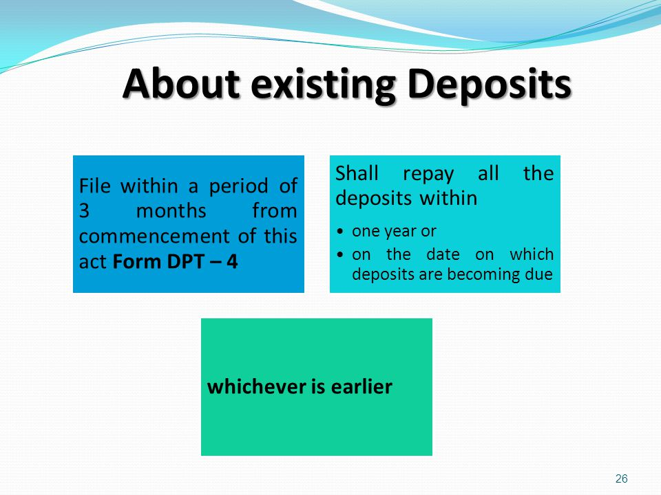 About existing Deposits
