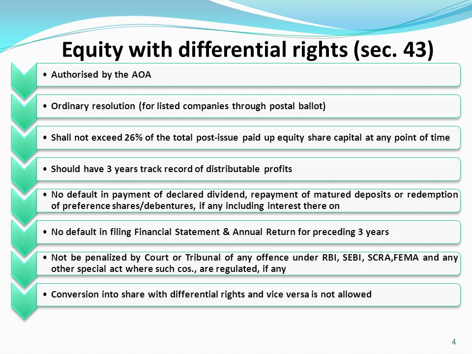 Equity with differential rights (sec. 43)
